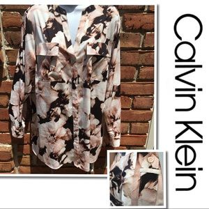CALVIN KLEIN watercolor Floral button Blouse 1X